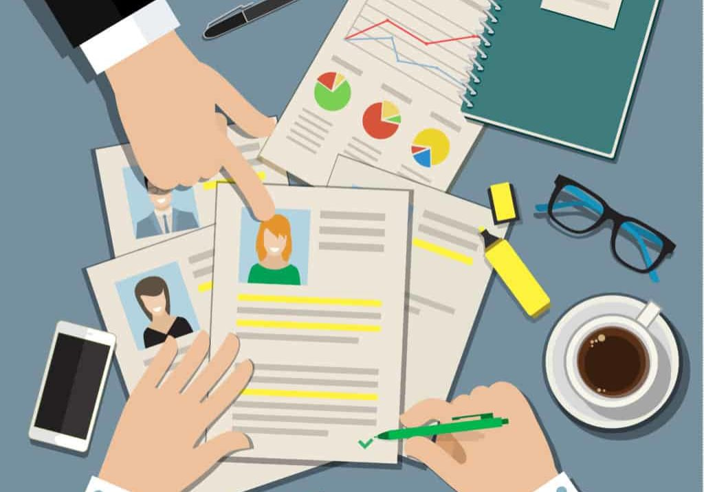 Job interview concept with business cv resume. Flat vector illustration